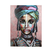Large pink painting of an exotic woman with a head scarf