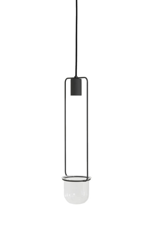 Long grey ceiling light with an open bulb and a round glass plant pot at the bottom