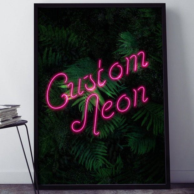 Portrait custom neon LED calligraphy sign with a green leaves background