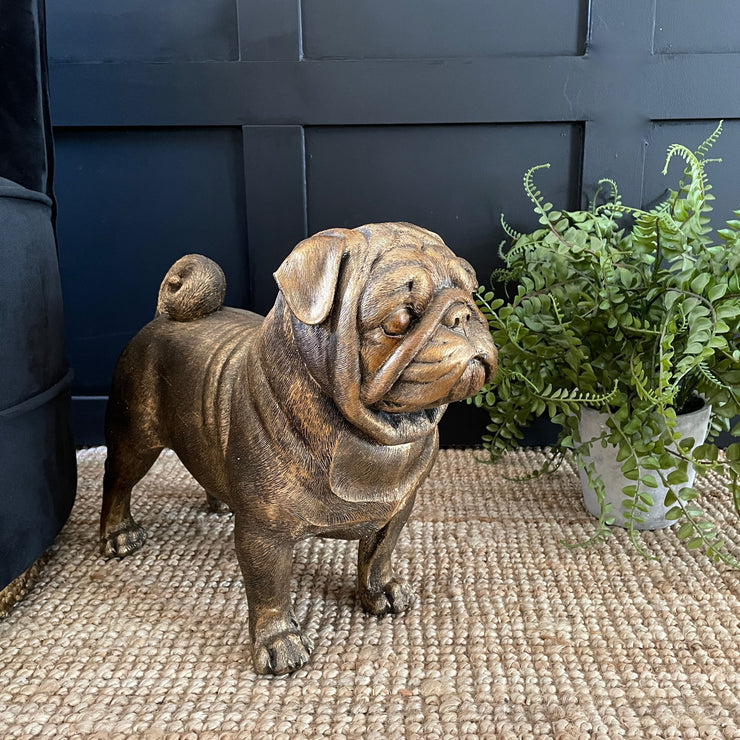 Gold large pug ornament