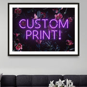 Purple custom LED neon sign with a pink and blue floral background