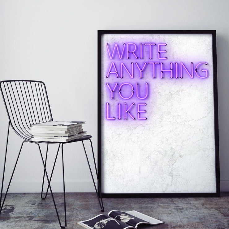 Purple customised neon LED art print on a white marble background