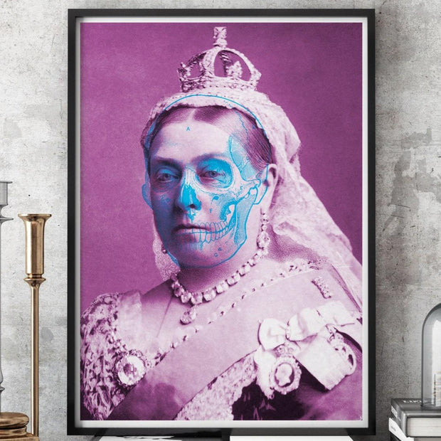 Pink Queen Victoria art print with a blue skull outline