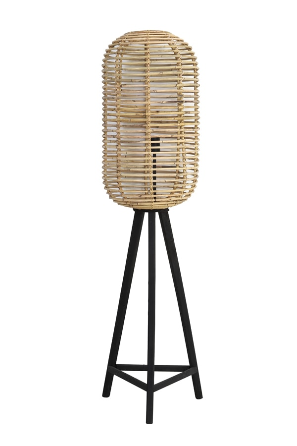 Woven rattan floor lamp with black tripod legs