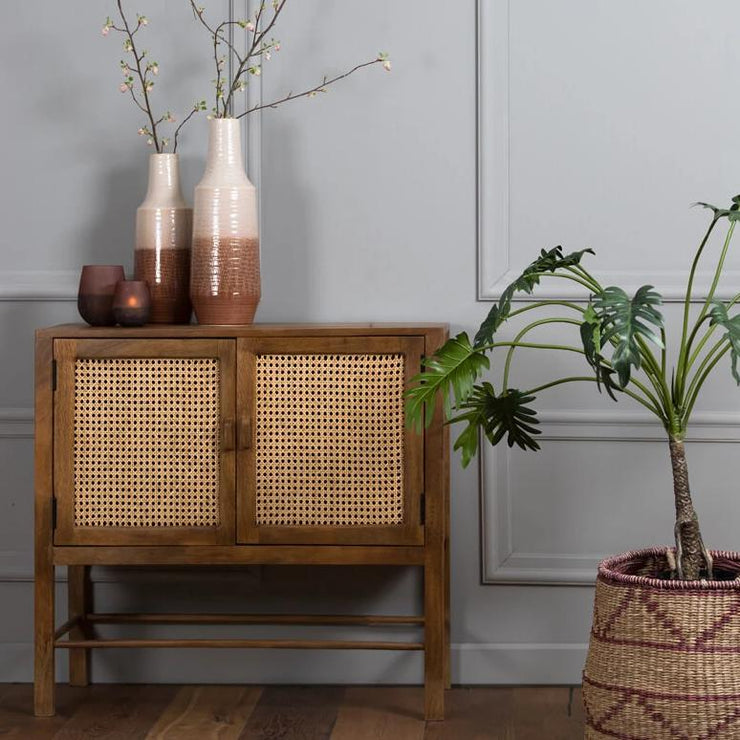Solid wood double door sideboard with two shelves and a open wicker mesh weaving