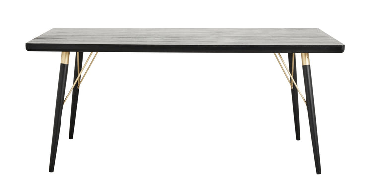 Rectangular black wooden dining table with gold detailing