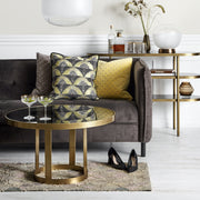 Dark glass top hoop design gold finished coffee table