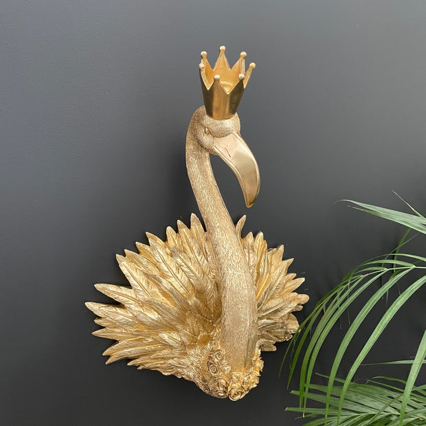 Gold flamingo wall decoration with a crown