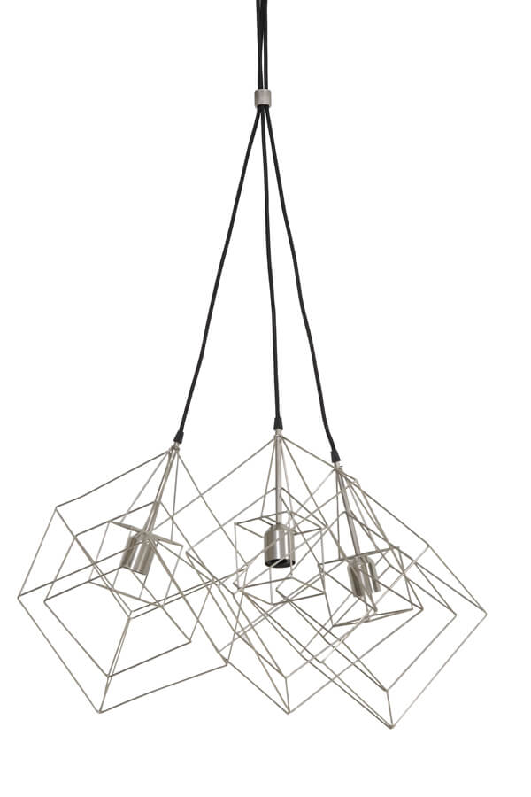 Silver 3 light geometric cue design ceiling pendant light