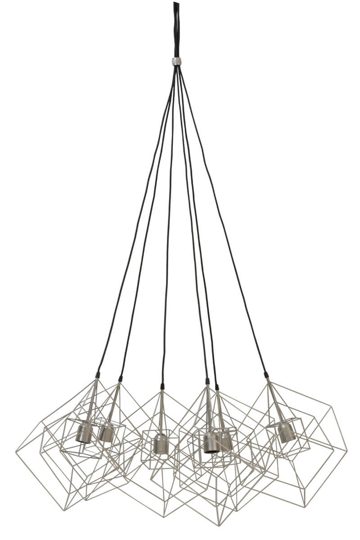 Silver 6 light geometric cue design ceiling pendant light