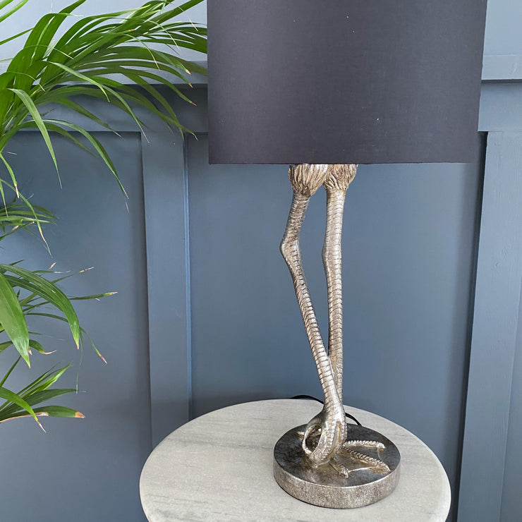 Silver flamingo leg table lamp
