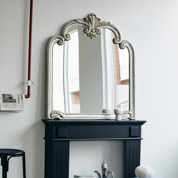Antique style mirror in a soft silver