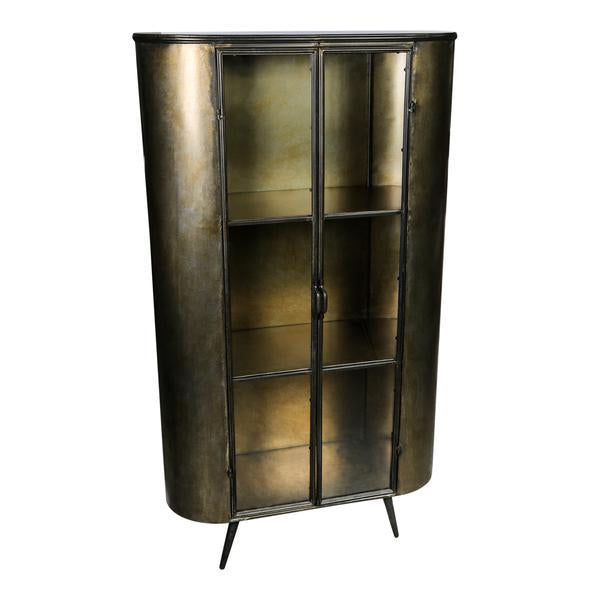 Three shelf brass coloured cabinet with crittall glass style doors