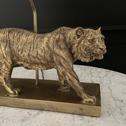 Gold tiger table lamp stand with a black lamp shade