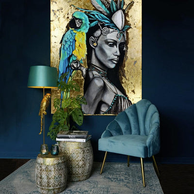 Gold large painting with an exotic woman and blue parrot