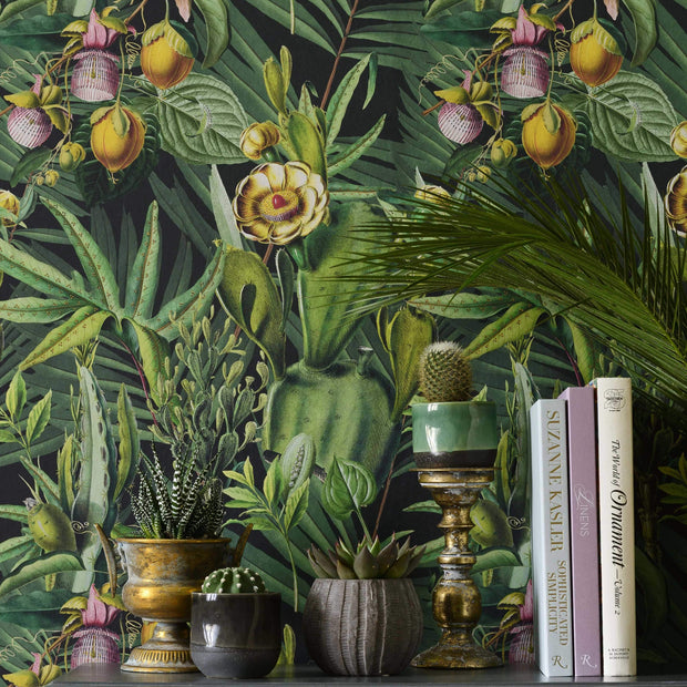 Tropical fruit green patterned wallpaper