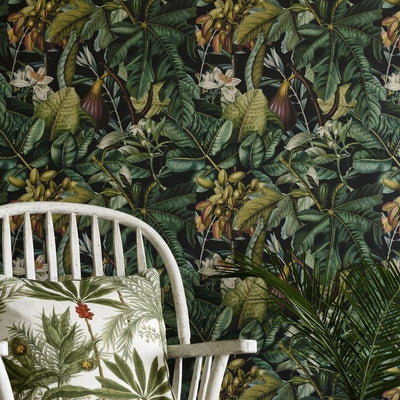 Green fig and date patterned wallpaper