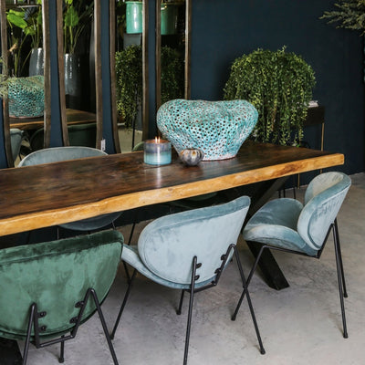 Velvet teal and green dining chairs with black legs