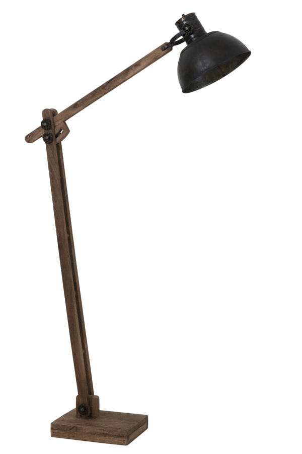 Weathered black vintage floor lamp with a wooden base
