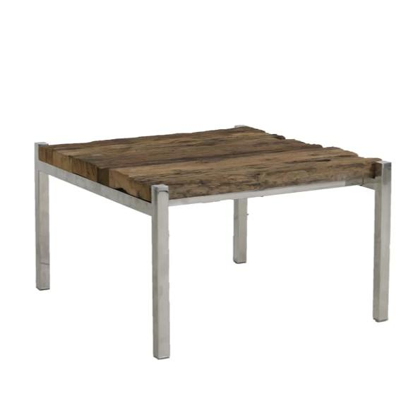 Distressed rustic low wood coffee table with a nickel silver frame