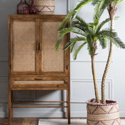 Teak Japandi style double door cabinet with open wicker mesh weaving