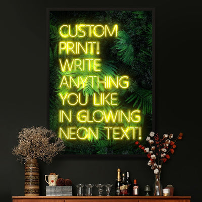 Yellow custom neon LED sign art print with a green leaves background