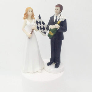 Resin F1 Car Racing Fan Bride and Groom Wedding Cake Topper 6-inch Height