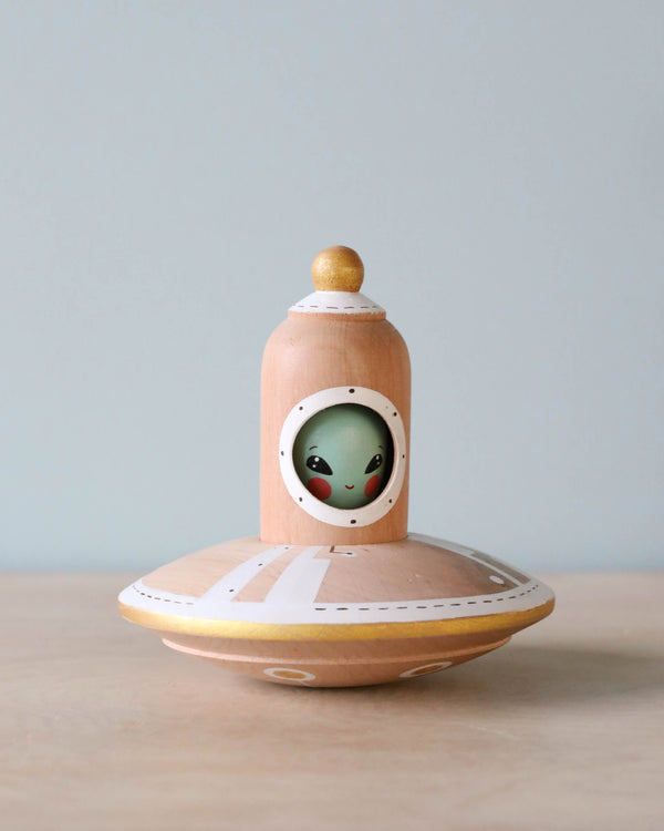 Handmade Wooden UFO With Alien