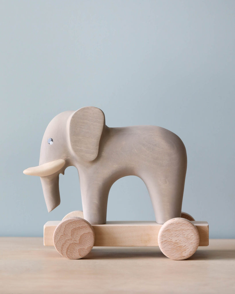 Handmade Wooden Elephant Push Toy With Built-In Magnets