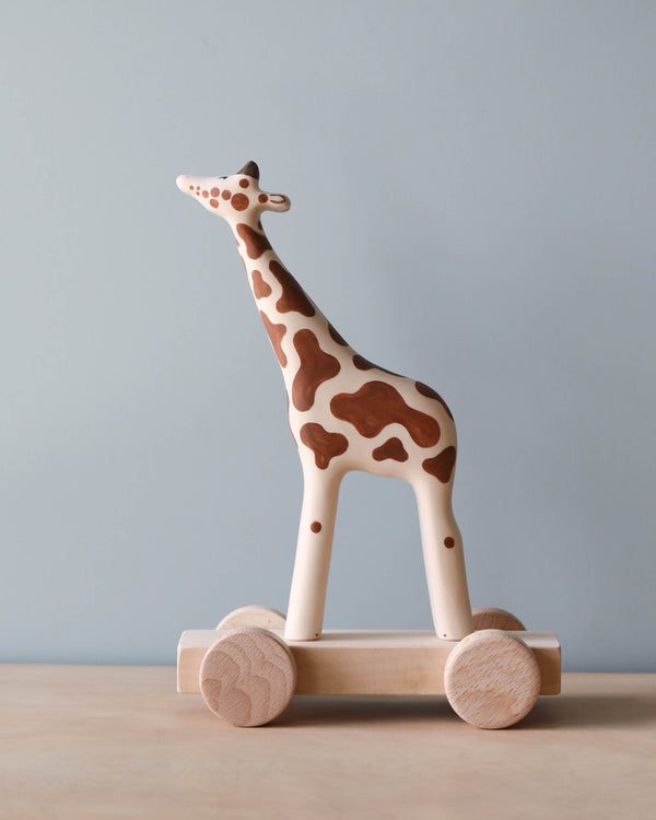 Handmade Wooden Giraffe Push Toy With Built-In Magnets