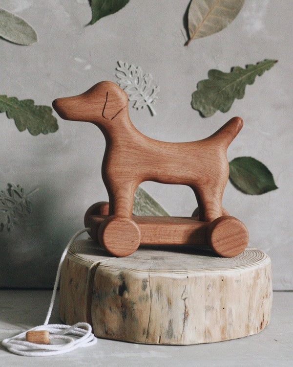 "Handmade Wooden Dog Pull Toy <br/> <font size=""2.7"">Gives 5 meals</font>"