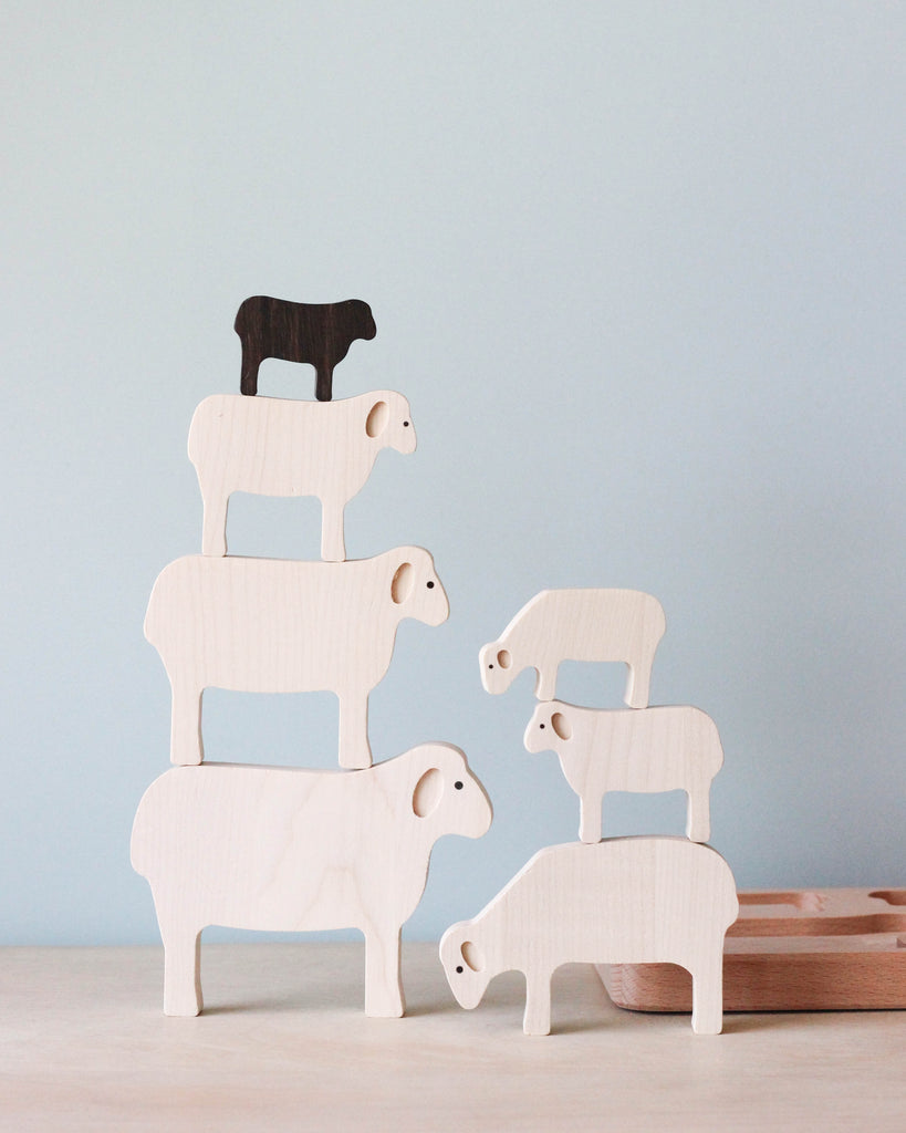 Wooden Sheep Puzzle & Stacker