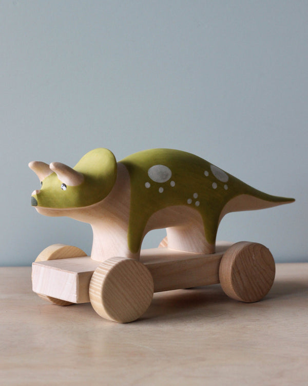 Handmade Magnetic Triceratops Dinosaur Push Toy