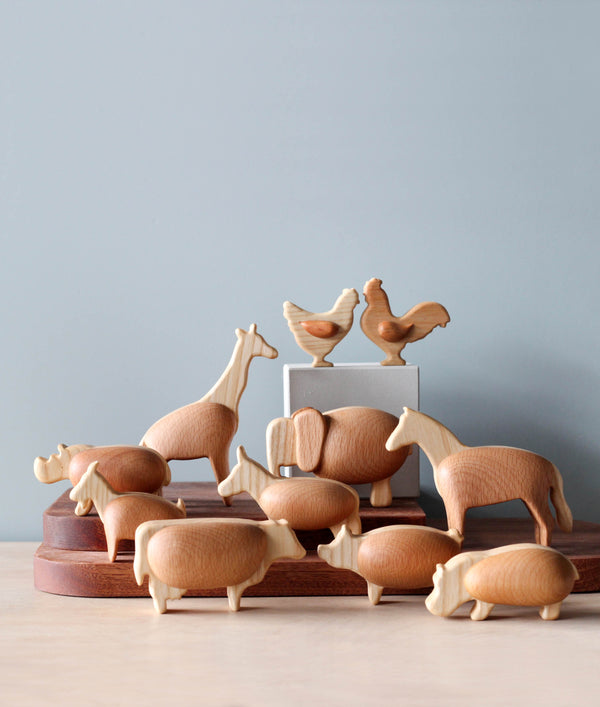 Handmade Chubby Wooden Animals
