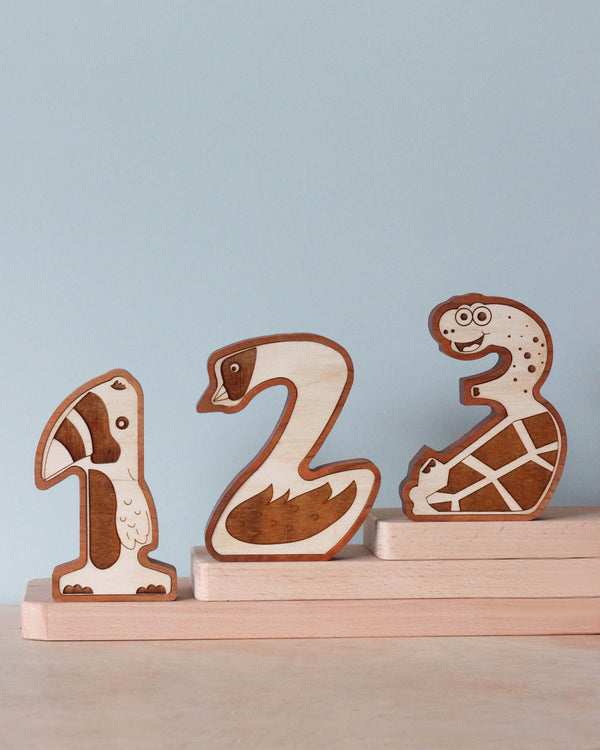 Wooden Animal Numbers (0-9) - Made in USA