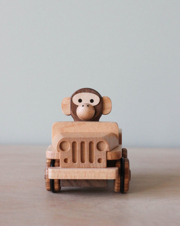 Wooden Monkey in a Pull Back Car