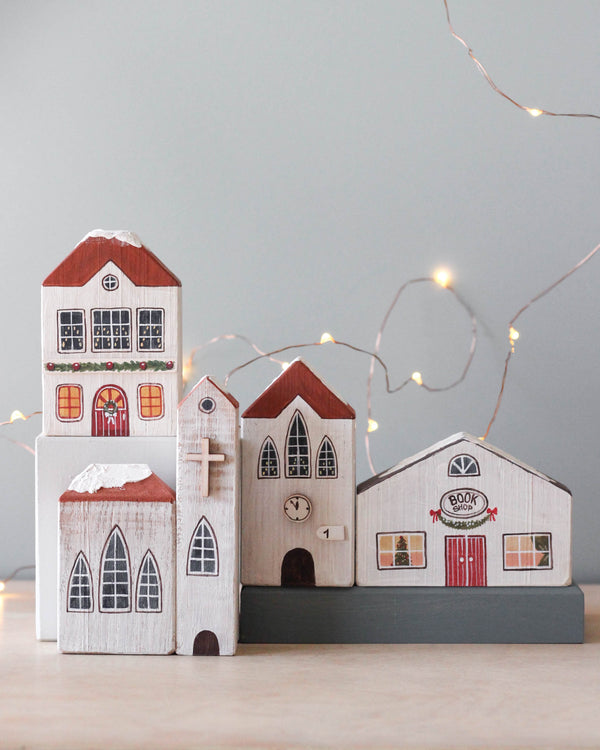 Handmade Wooden Christmas Village