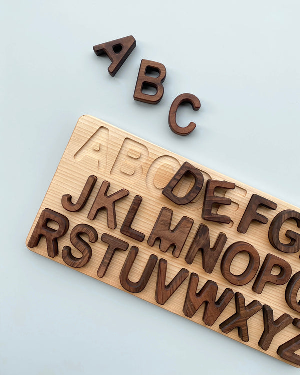 Uppercase Walnut Alphabet Puzzle