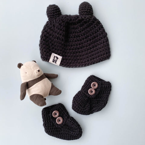 "Handmade Black Teddy Hat & Booties <br/> <font size=""2.7"">Gives 3 meals</font>"