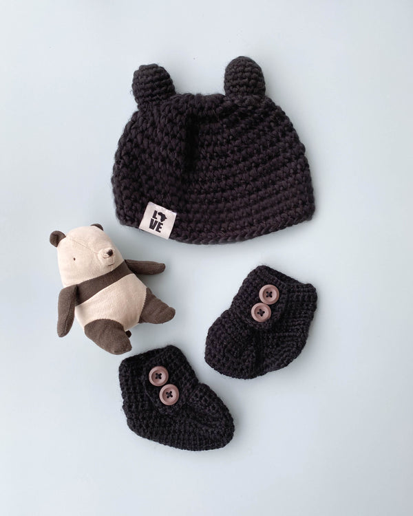 Handmade Black Teddy Hat & Booties