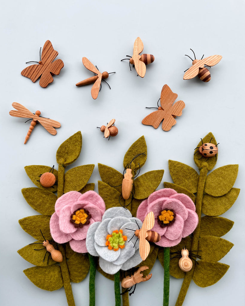 Handmade 11-Piece Wooden Insects