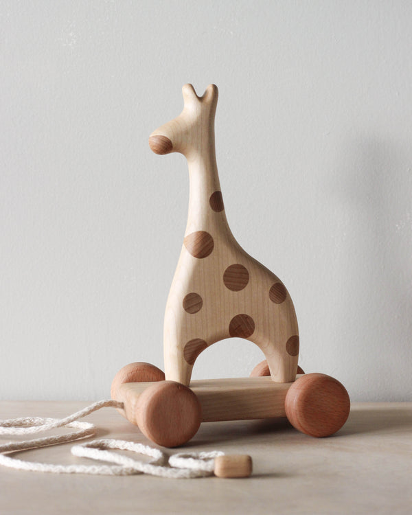 "Handmade Wooden Giraffe Pull Toy <br/> <font size=""2.7"">Gives 5 meals</font>"