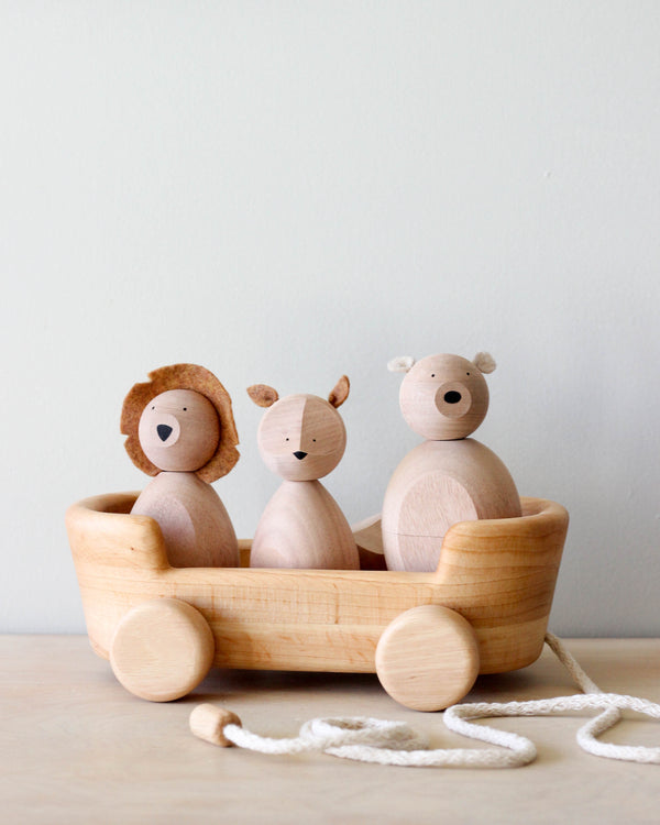 "Handmade Wooden Wagon Pull Toy <br/> <font size=""2.7"">Gives 8 meals</font>"
