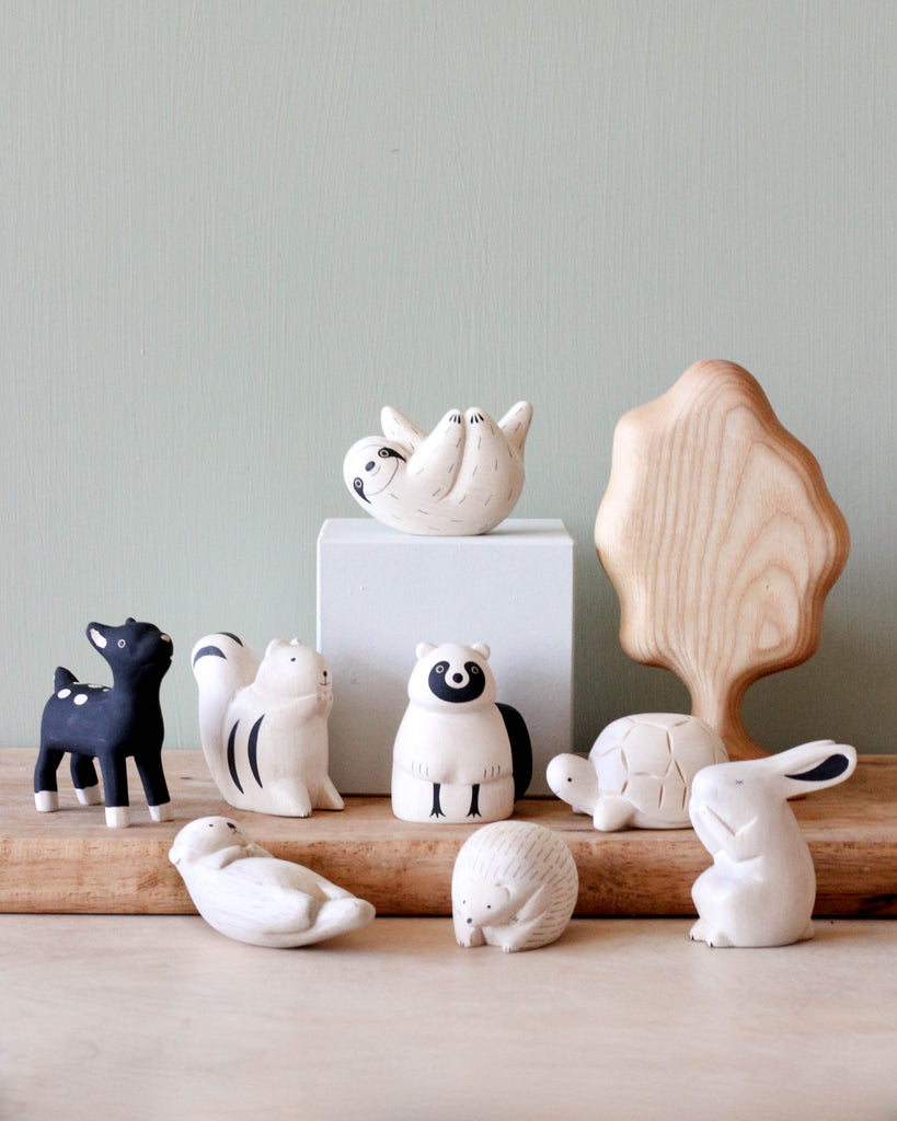 Handmade Tiny Wooden Forest Animals