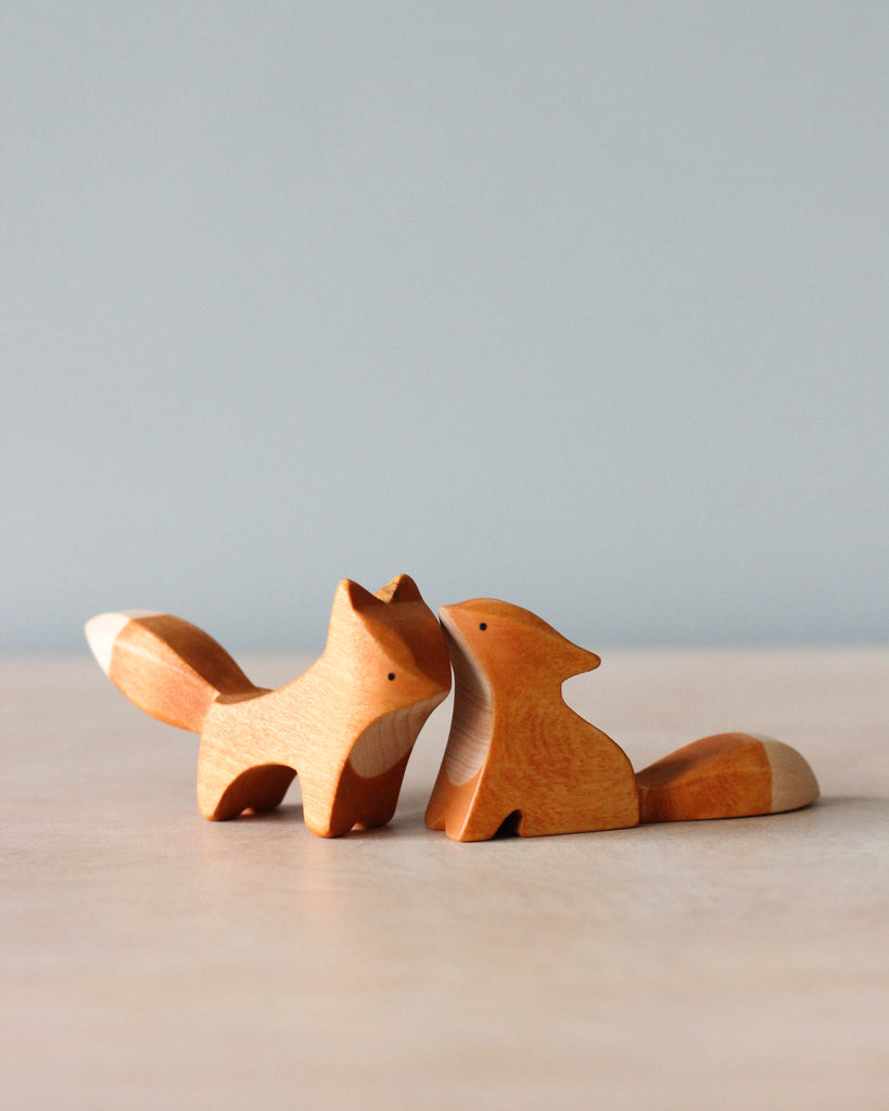 Handmade Wooden Foxes (set of 2)