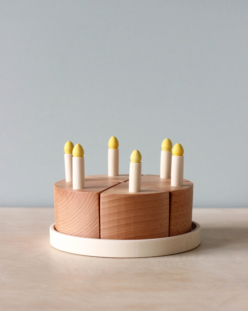 Handmade Small Wooden Cake with Candles