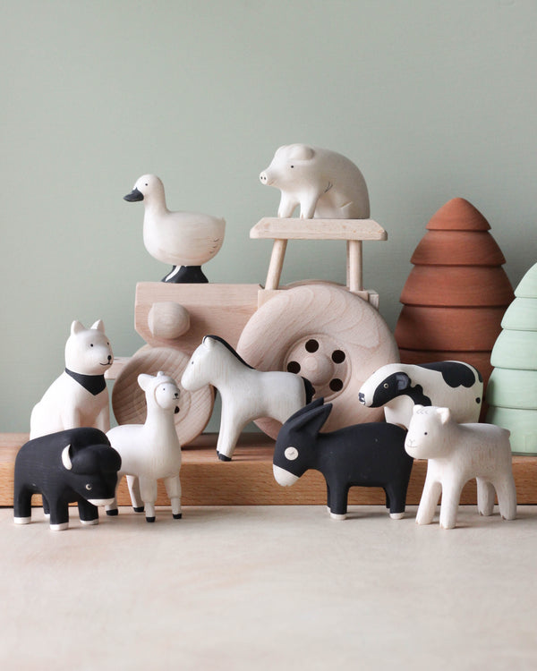 Handmade Tiny Wooden Farm Animals