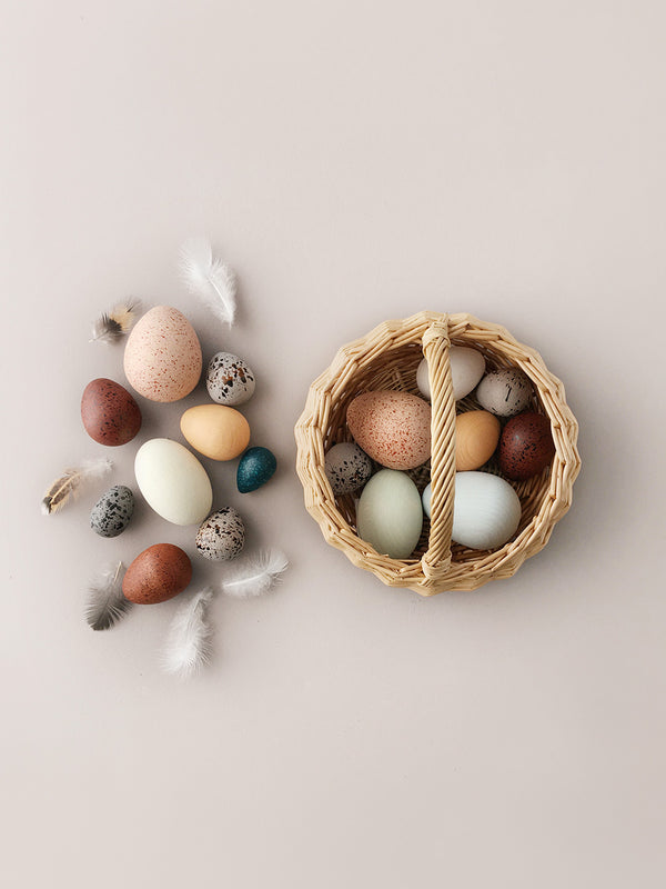 A Dozen Wooden Bird Eggs