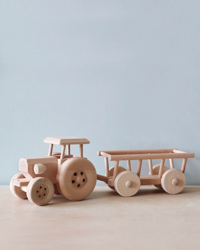 Large Handmade Wooden Tractor