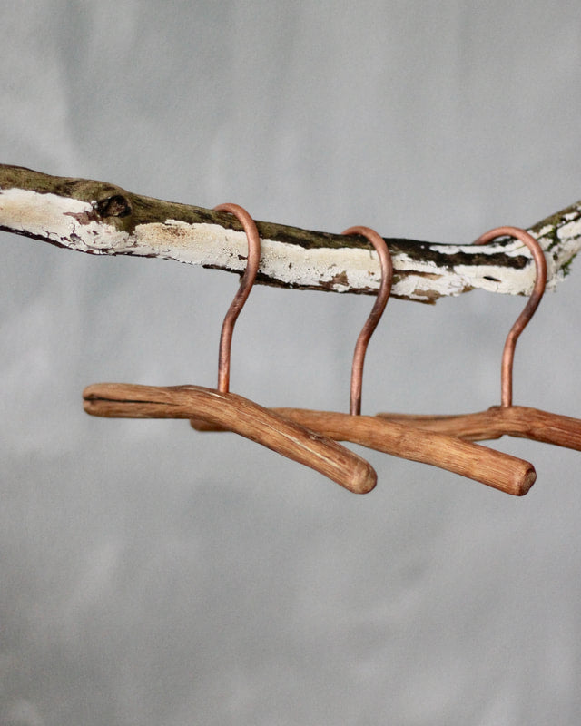 Handmade Children's Oak and Copper Hanger